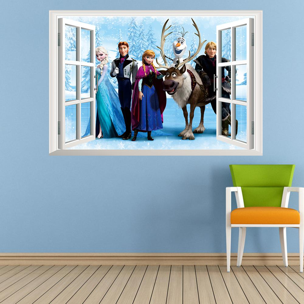 Frozen cartoon wall stickers cartoon movie wall decals childrens frozen cartoon wall stickers cartoon movie wall decals childrens room wall papers home decoration 4560cm 2pcslot free shipping amipublicfo Image collections