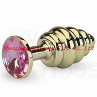 Wholesale Metal Butt Plug Golden - Wholesale - New Design Golden Color Anal Toys Screw thread Anal Plug Hand-polished Butt Toys Plugs Chastity Devices Bondage SM253