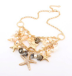 Wholesale Vintage Pearl Collar Necklace - Vintage Europe Style Fashion Charms Collar Necklace With Starfish Imitation Pearl Conch Jewelry S9145