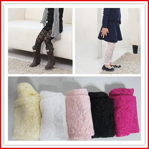2016 New Girl Full Lace Leggings Children Clothes Gir Lace Candy Color Tights Nine minutes of pants Pink White Black Yellow Rose 9pcs Melee