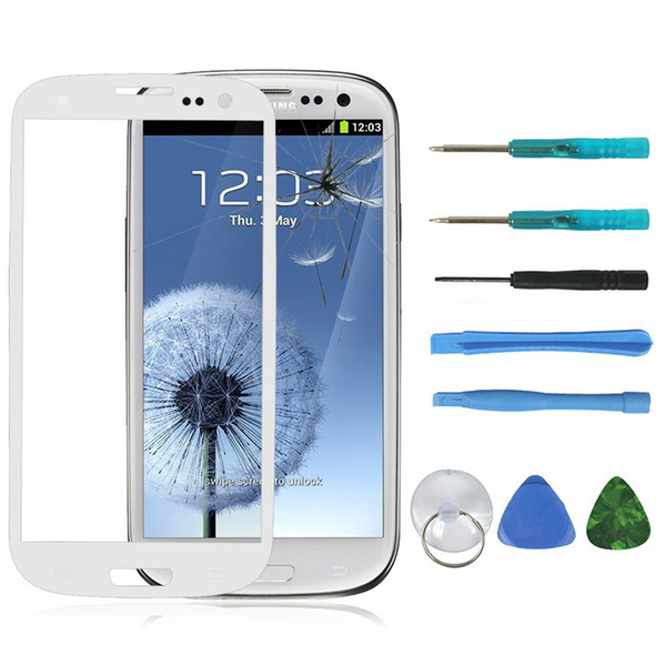 New White Front Outer LCD Screen Glass Lens Cellphone Replacement for Samsung Galaxy S3 i9300 + Free 8 in 1 Set Repair Kit Tools