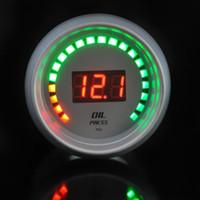 Wholesale Oil Pressure Digital Car - FAVOR White Universal Car Motor 20 LED Analog 52mm Digital Oil Press Pressure Gauge