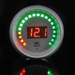 Wholesale Oil Pressure Digital Car - FAVOR White Universal Car Motor 20 LED Analog 52mm Digital Oil Press Pressure Gauge