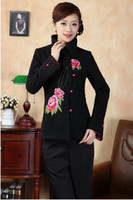 Wholesale Chinese Style Jackets Women - Free Shipping new sale Winter mandarin collar Women's Satin Jacket Coat Floral outwear chinese style jacket Size M L XL XXL XXXL J0074