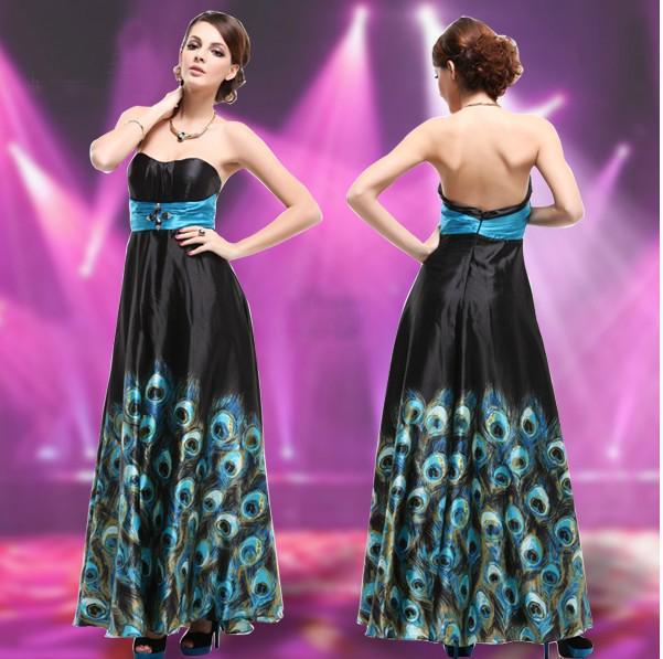 Bonito Vestido De Plumas De Pavo Real Del Baile Componente - Ideas ...