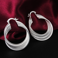 Wholesale Cheap Silver Hoop Earrings Wholesale - 2014 new design cheap jewelry Top quality 925 sterling silver hoop earrings free shipping fashion classic party style