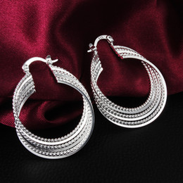 Wholesale Cheap Fashion Earrings Free Shipping - 2014 new design cheap jewelry Top quality 925 sterling silver hoop earrings free shipping fashion classic party style