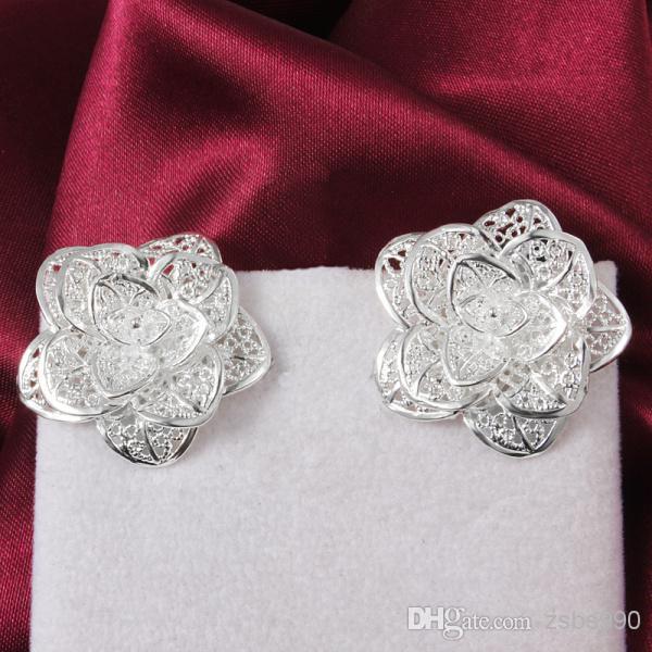 2014 neue Design Top-Qualität 925 Sterling Silber Blume Ohrstecker Modeschmuck Party-Stil Hochzeitsgeschenk Freies Verschiffen