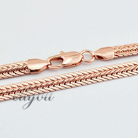 Wholesale Gold Filled Womens Necklace - New Fashion Jewelry 6mm Mens Womens Flat Snake Chain 18K Rose Gold Filled Necklace Gold Jewellery Free Shipping C07 RN
