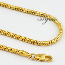 Wholesale Men Necklace 1mm - 1mm 2mm 3mm New Fashion Jewelry 18K Yellow Gold Filled Necklace Snake Chain For Men Womens Free Shipping Gold Jewellery C32 YN