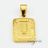 "Wholesale womens necklace free shipping - New Fashion Jewelry Mens Womens Square Pendant w ""J"" Letter 18K Yellow Gold Filled Pendant Necklace Free Shipping DJP30"