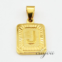 "Wholesale Yellow Gold Filled Jewelry - New Fashion Jewelry Mens Womens Square Pendant w ""J"" Letter 18K Yellow Gold Filled Pendant Necklace Free Shipping DJP30"