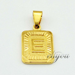 """$enCountryForm.capitalKeyWord NZ - New Fashion Jewelry Mens Womens Square Pendant w """"E"""" Letter 18K Yellow Gold Filled Pendant Necklace Free Shipping DJP25"""