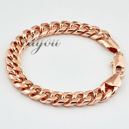 Wholesale Womens Gold Link Bracelets - Fashion Jewelry Mens Womens Smooth Flat Curb Cuban Link Chain 18K Rose Gold Filled Bracelet Gold Jewellery Free Shipping DJB122