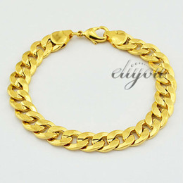 Wholesale 9mm Charms - New Fashion Jewelry Free Shipping 9mm Mens Womens Frosted Curb Cuban Chain 18K Yellow Gold Filled Bracelet Gold Jewellery DJB81