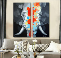 Top Quality Decorated Wall Art Animal Painting on Canvas 2 P...