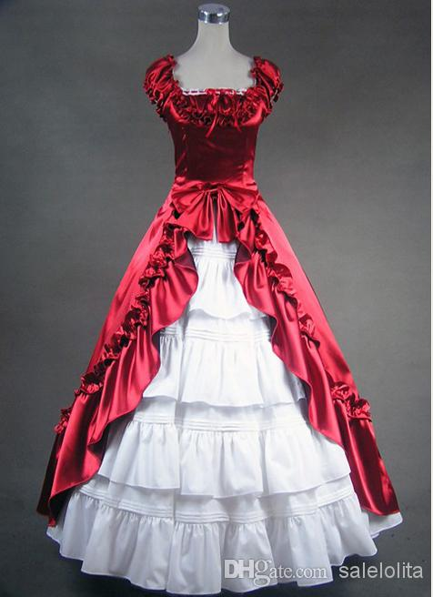 Deep Red And White Gothic Victorian Dress, Victorian Ball Gown ...