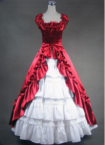 Бесплатная доставка глубокий красный и белый готический Викторианский платье, Викторианский бальное платье костюм