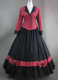Wholesale Sex Long Gown - Red Plaid Long Sleeves Great Quality and Noble Victorian Dresses,Sex Victorian Ball Gown For Wholesale