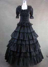 Wholesale Mardi Gras Prom Dresses - Classic Black Gothic Victorian Dresses,Prom Gown Lolita Costume Wholesale