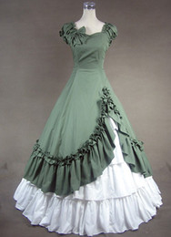 $enCountryForm.capitalKeyWord Australia - High Quality Green and White Sweetheart Cotton Victorian Dresses,include Petticoat