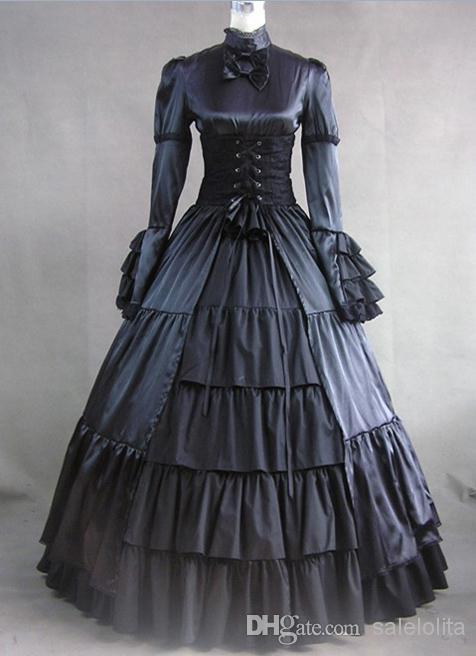 Acheter Robe De Style Victorien De Corset Gothique Noir À Manches Longues  En Gros f0b873a2a9a