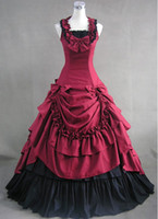 Brand New Red Cotton Gothic Victorian Ball Gowns Dresses Dro...