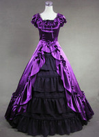 Wholesale Cheap Victorian Dresses Costumes - Cheap Elegant Attractive Purple and Black floor-length Victorian Dress for Sale,include Petticoat