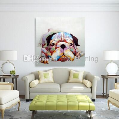 Lovely Dog Decorated Canvas Oil Painting Animal Wall Art Paints Handpainted for Home Decoration in Living Room or Baby Room