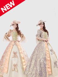 Vestidos de fiesta victorianos del renacimiento online-Noble Royal Palace Marie Antoinette Civil War Renacimiento medieval Victorian Ball vestido de traje, Southern Belle Ball Dress