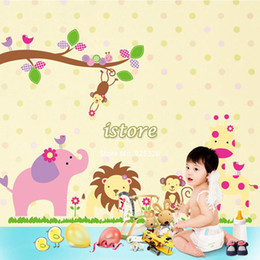 $enCountryForm.capitalKeyWord Canada - New Hot PVC Jungle Animal Zoo Kindergarten Bedroom Decor Cartoon Art Home Decals Wall Stickers for Kids Rooms 90cm*60cm TK1421