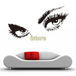 Sexy Eyes Decals UK - 10pcs Lot Wholesale 48cmx60cm New Black Creative SEXY EYES Wall Decal Wall Sticker Removable Mural PVC Home Decor Gift SV000410