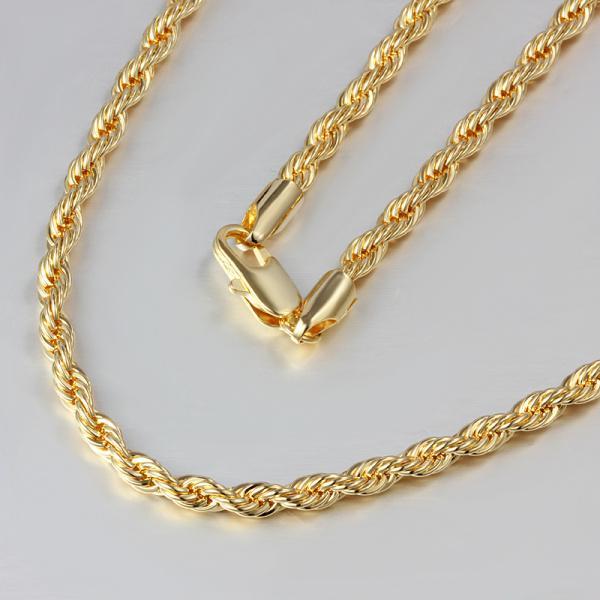 أعلى جودة 18 كيلو الذهب مطلي الملتوية حبل سلسلة قلادة 24inches أزياء رجالية مجوهرات شحن مجاني