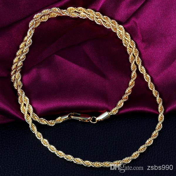 La collana della catena della corda torta placcato oro 18K superiore di alta qualità 24inches i monili degli uomini di modo che spedice liberamente