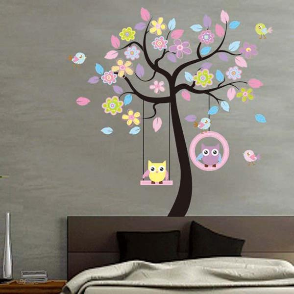 Large Owl Bird Tree Swing Wall Sticker PVC Decal for Kid Nursery Room Amazing Home Decor