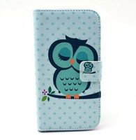 Wholesale Galaxy S4 Mini Owl - Tribal Owl Flower Wallet Leather Case For Samsung Galaxy S4 mini i9190 Eiffel Tower Keep Calm Credit Card With Stand mix order