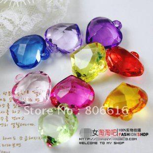 22MM (150Pcs Mixed Color) Perles acryliques pour le coeur Pendentifs en plastique Accessoires Accessoires pour bijoux