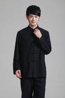 Wholesale Kung Fu Shirt Cotton - Free Shipping 2015 new Martial Arts Chinese Style Mandarin Collar Black Long Sleeve KungFu shirt kung fu Costume taiji clothing 2352-1_1