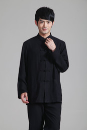 Vente en gros Livraison Gratuite 2015 nouveaux Arts Martiaux Chinois Style Mandarin Col Noir À Manches Longues KungFu chemise kung fu Costume taiji vêtements 2352-1_1