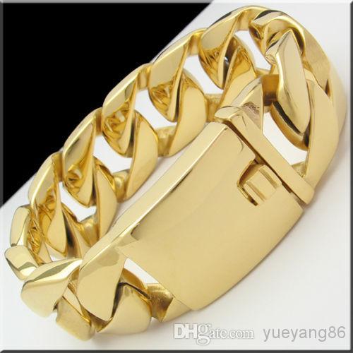 Gold / Silber Auswahl Farbe riesige schwere 174g kubanische Panzerkette Edelstahl Armband 8,5