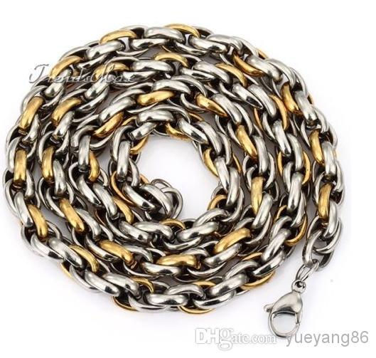 8mm de prata de ouro Top de aço Inoxidável enorme corda colar de corrente de Jóias Da Moda Dos Homens 23 ''