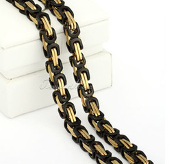 Wholesale 9mm Stainless Steel Necklace - 9mm 24'' Black Gold Heavy Stainless steel byzantine box chain necklace Mens Fashion Jewelry 148g