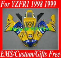 Wholesale 99 R1 Parts - 7 gifts!!! Motorcycle parts for YAMAHA 1998 1999 YZFR1 faiirng kit YZF R1 YZF-R1 YZR1000 R1 98 99 CAMEL yellow blue fairings kit