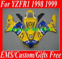 ingrosso carenatura r1 99 blu-Ricambi moto per YAMAHA 1998 1999 YZFR1 Kit carrozzeria Carena YZF R1 YZF-R1 YZR1000 R1 98 99 giallo blu Carenature Carrozzeria