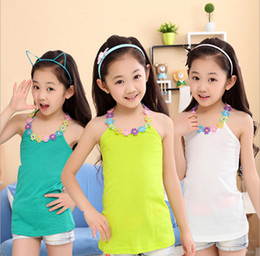 Wholesale Floral Tanks - Wholesale summer children clothes Children's Tank Tops child cotton tank top with flower 10p l