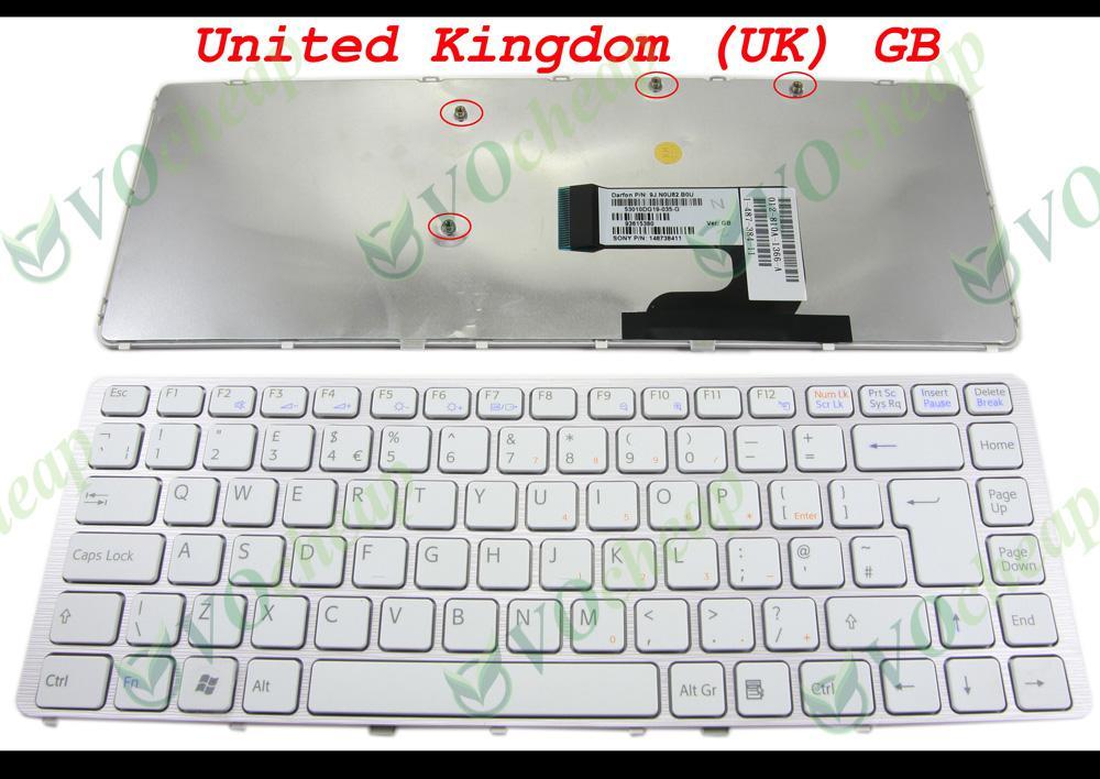 Neue Laptop-Tastatur für Sony Vaio VGN-NW-Serie (mit weißem Rahmen) Weiße Taste UK GB English Version - 148738411