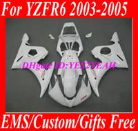 juegos de carenado r6 al por mayor-Kit de cuerpo de carenado para YAMAHA YZFR6 2003 2004 2005 YZF R6 YZF-R6 Carrocería YZF600 R6 03 04 05 Carenados blancos set + 7 regalos