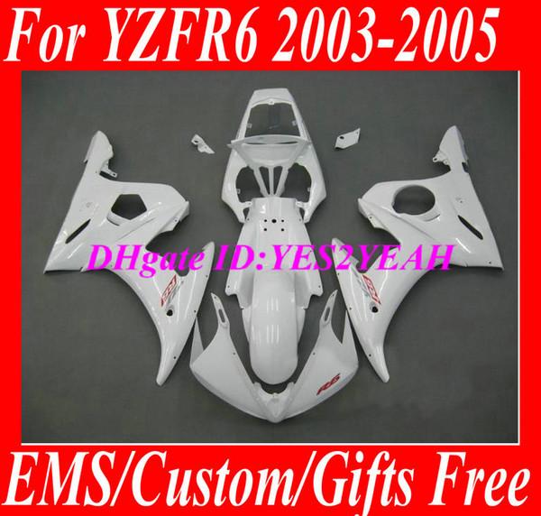Verkleidungsbausatz für YAMAHA YZFR6 2003 2004 2005 YZF R6 YZF-R6 Karosserie YZF600 R6 03 04 05 weiß Verkleidungsset + 7 Geschenke