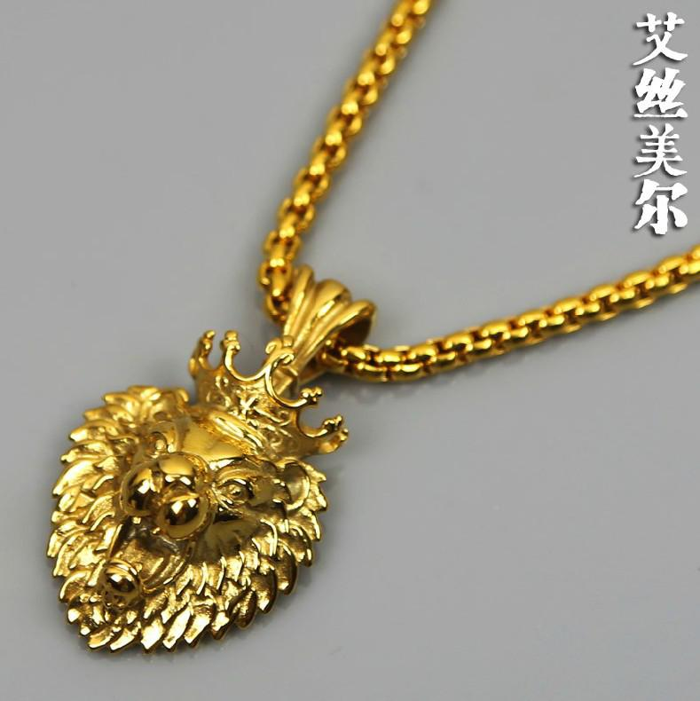 Wholesale 100 24k real gold plate dcrown lion pendants high quality wholesale 100 24k real gold plate dcrown lion pendants high quality fashion hiphop long necklaces gold chain for men jewelry bijouterie new 2014 turquoise aloadofball Choice Image