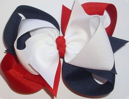 "Wholesale Triple Bow - 4th of july 4.5"" LARGE Triple Loop Grosgrain Hair Bow Hairbow Headwear headdress in Red, White, and Navy Blue -24pcs"